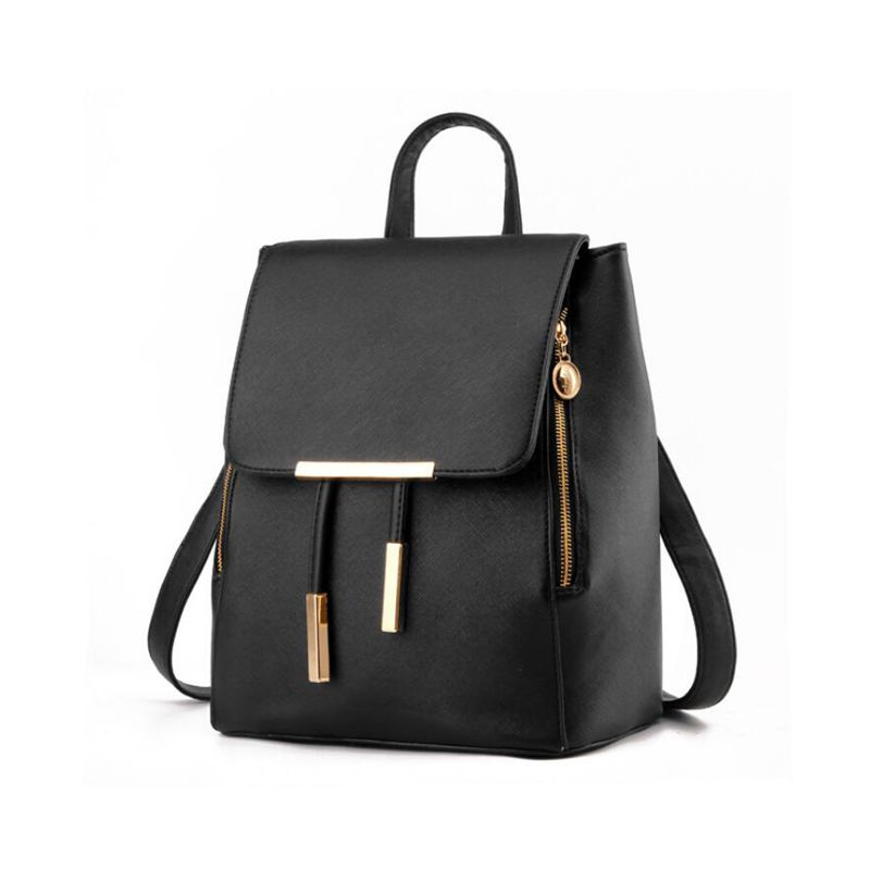 Black Faux Leather Backpack for Women Schoolbag Casual Daypack 1