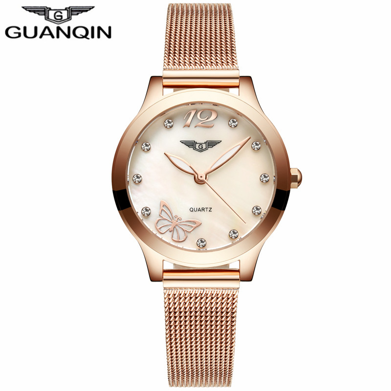 Relogio Feminino Women Dress Top Brand GUANQIN Women's Fashion Stainless Steel Bracelet Quartz Watch Ladies Watches Gold Watch fashion brand luxury full stainless steel bracelet watches women ladies bangle dress watch woman clocks hour relogio feminino
