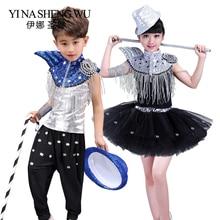a8e2cd18bf102 Los niños lentejuelas danza etapa de chico y chica hip-hop danza trajes  niños danza Jazz danza