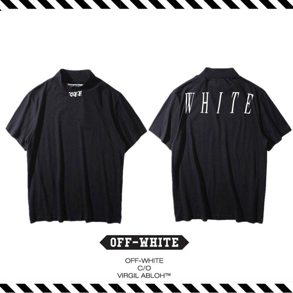 Best Version 2016 Fall Winter OFF WHITE C O Virgil Abloh MOCK NECK Men  Letter Print Cotton Shorts Sleeve Cotton T-shirt Tee a13064ba882e