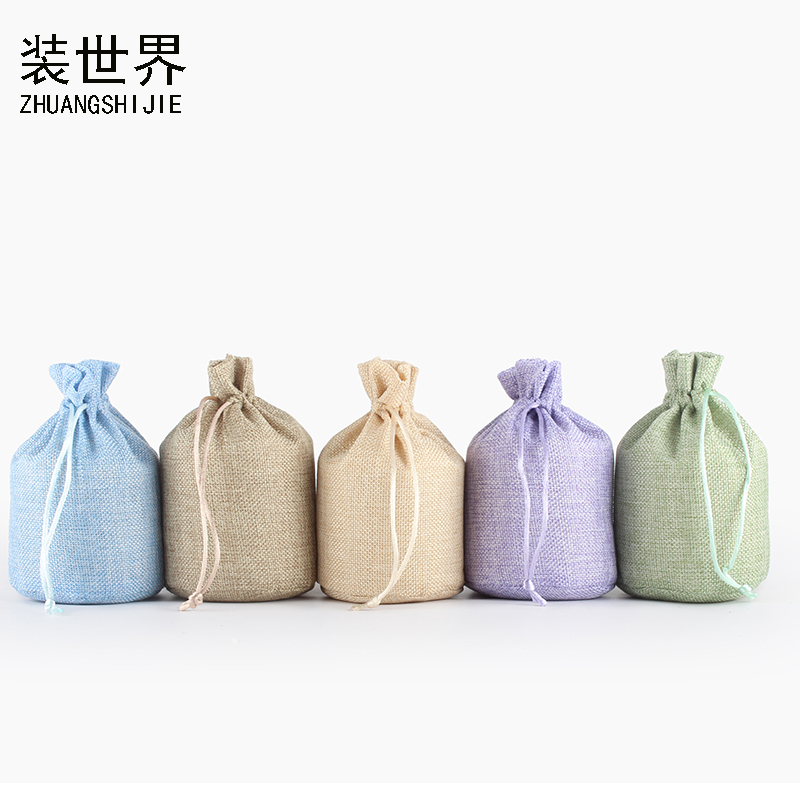 2Pcs 13*18cm Linen Drawstring Pouch Bag Logo Printed Jute Pouch Party Candy Round Bottom Bag