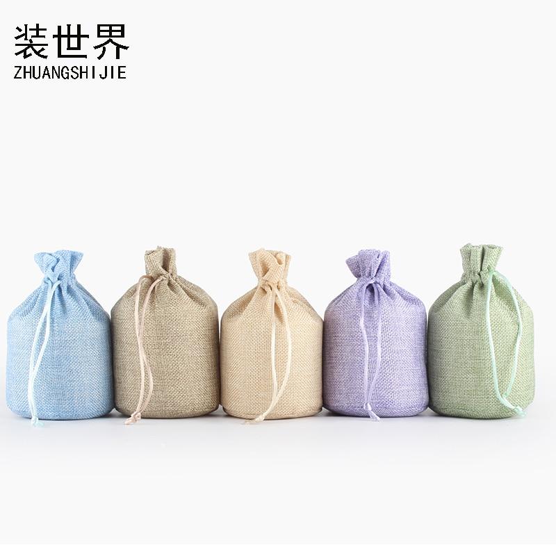 2Pcs 13*18cm Linen Drawstring Pouch Bag Logo Printed Jute Pouch Party Candy Round Bottom Bag