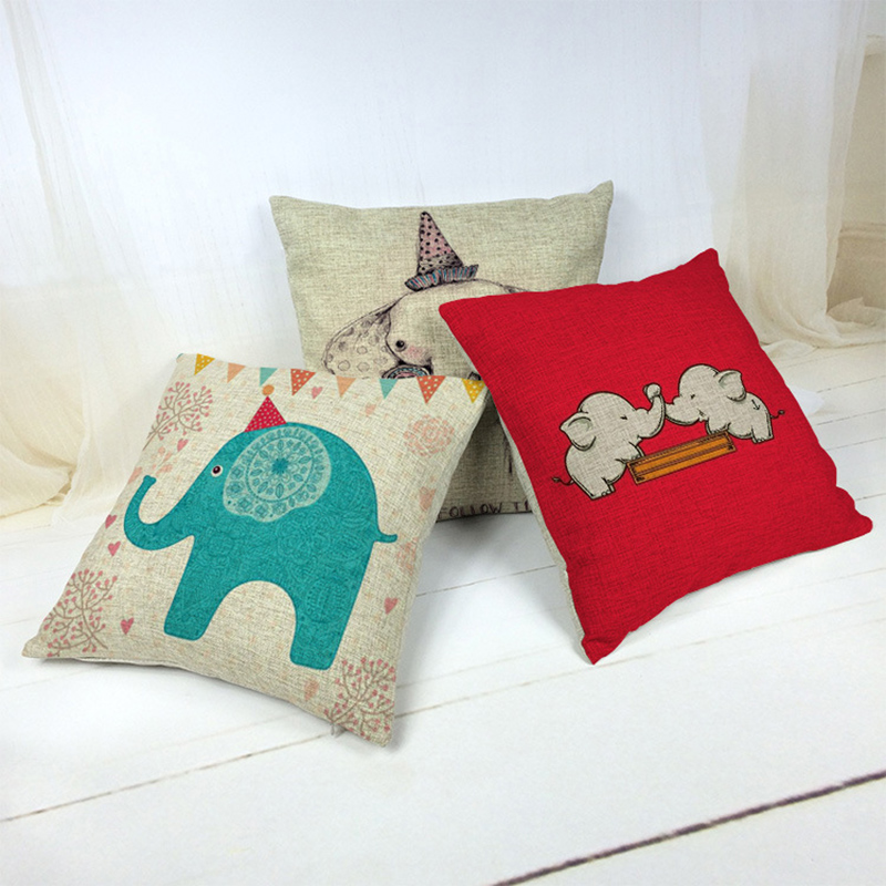 Cute Baby Elephant Pillow Case Cushion Cover Square Pillowcase For Sofa Home Decoration H