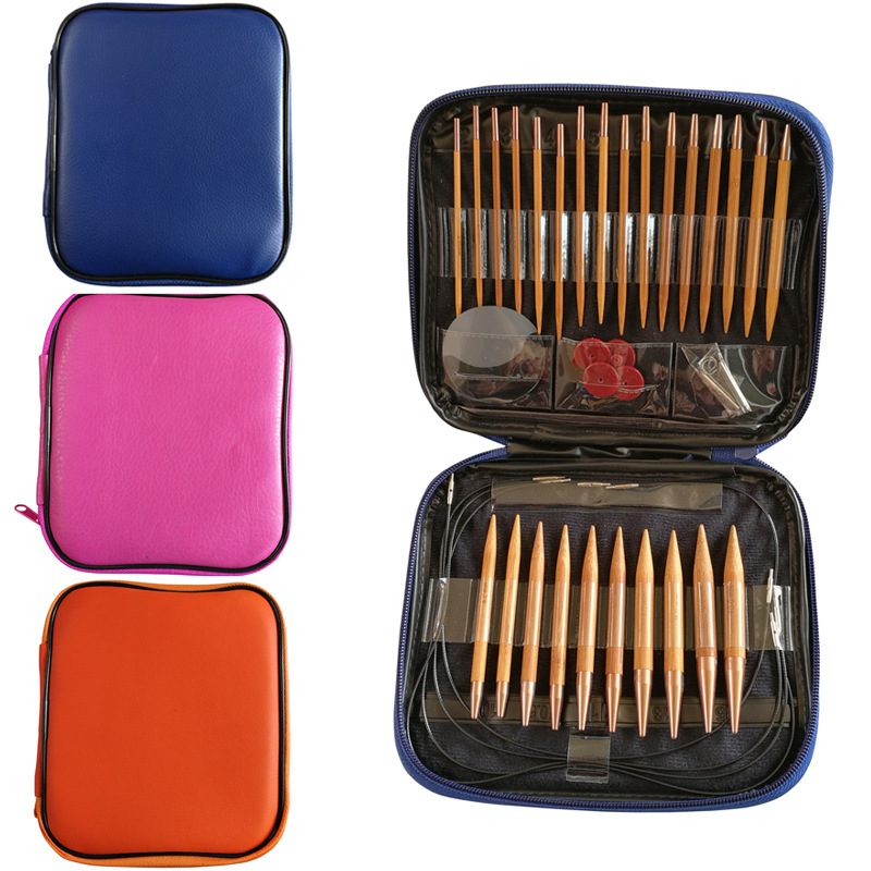 13 pares conjunto de agulhas de tricô carbonizado bambu intercambiáveis ferramentas de costura de tecelagem circular ganchos de crochê para agulha de fio