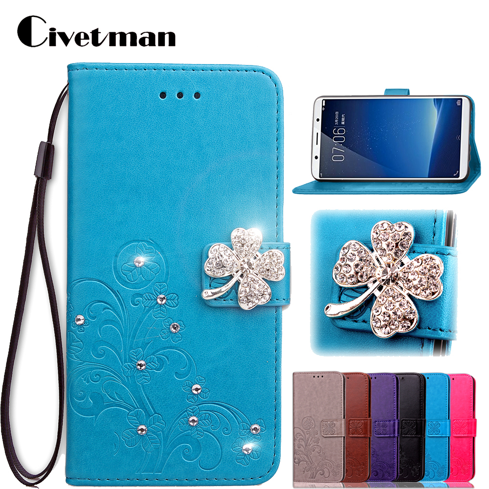 Cover Phone Case For BBK Vivo X20 X 20 Plus Flip PU Leather TPU Shell Double Magnet Clover Design Diamond Protection Holster Bag