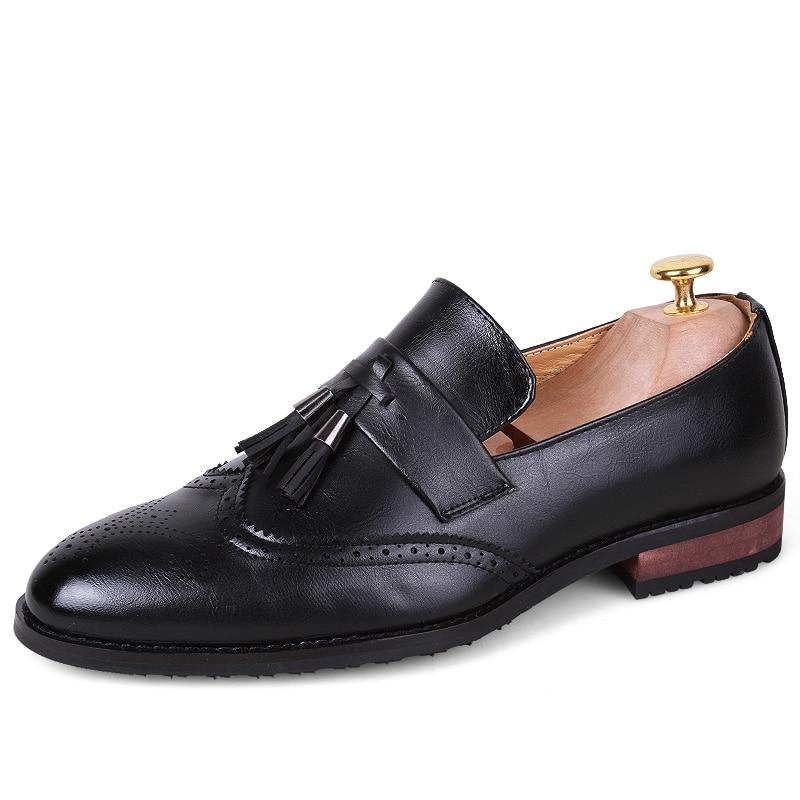 Chaussures Noir brown En Slip Cuir Rouge Pointu Brun Black Sur Pour Hommes Oxford Robe Les Bout 7qptwZn