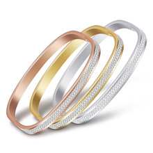New Trendy 3 Colors Charm Stainless Steel Bracelet Two Rows Crystal Bracelets&Bangles for Women Party Gift