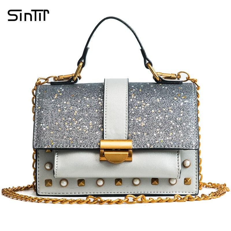 SINTIR Fashion Summer Diamonds Sequins Small Women Shoulder Bags Vintage Rivet Handbags Women Chain Messenger Bag bolsos mujer