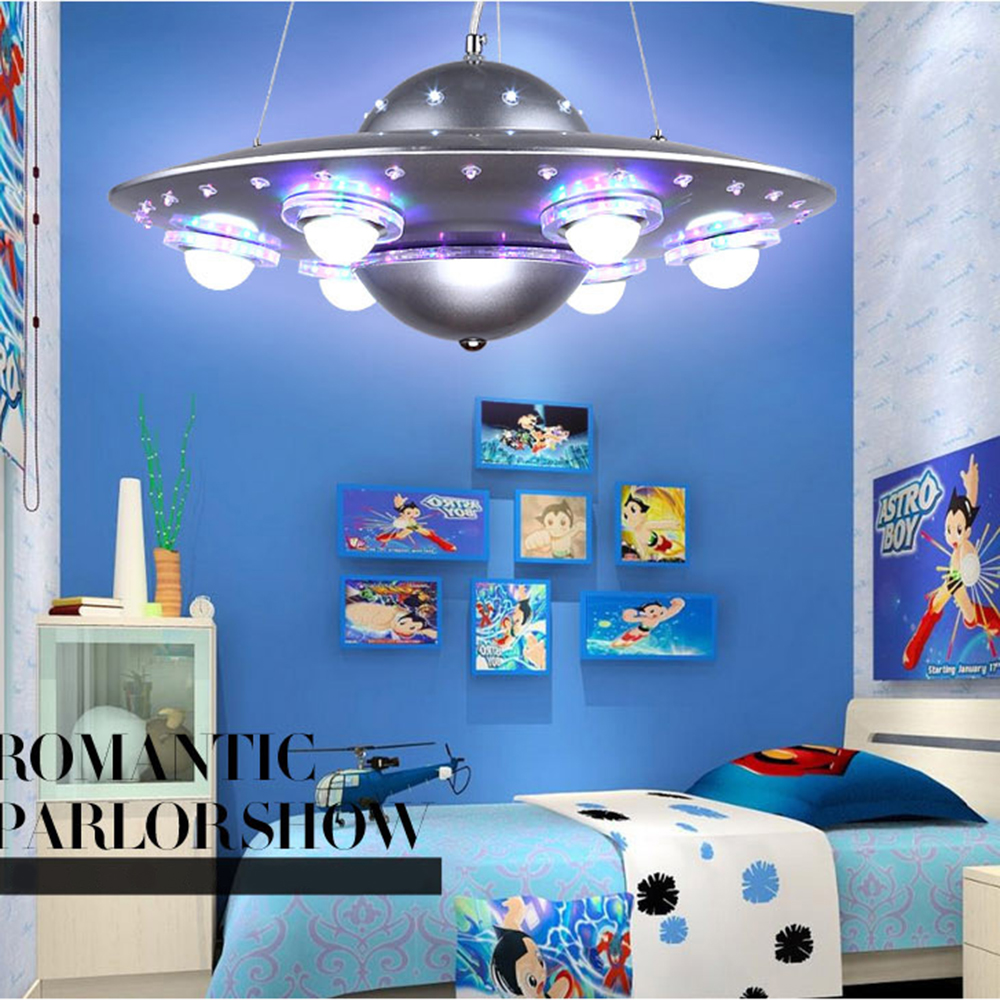colorful remote control ufo spaceship chandelier children 39 s room pendant lamp bedroom lights. Black Bedroom Furniture Sets. Home Design Ideas