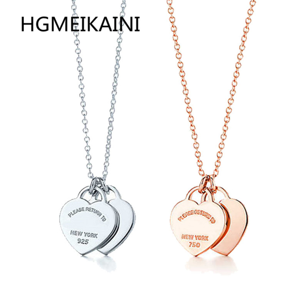 Tiff925 % silver fashion really double heart necklace pendant rose gold charm women gift collarbone chain jewelry brand design