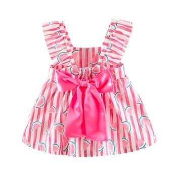 490deeaf0926b0a От 1 до 3 лет Детские Платье для маленьких девочек детская одежда с  цветочным принтом для девочек, повседневные платья с принтом для детей яс.