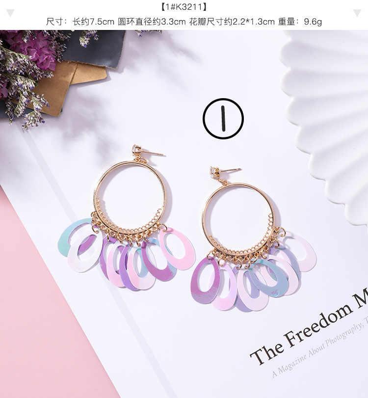9e525b4f9b ... AOMU 2018 New Purple Series Sequins Long Flower Earrings Rhinestone Big  Statement Earrings Long Tassel Earrings ...