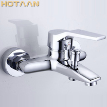 Free shipping Polished Chrome Finish New Wall Mounted shower faucet Bathroom Bathtub Handheld Shower Tap Mixer Faucet  YT 5339 A
