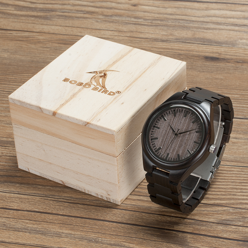 2017 Top Brand Watch Men BOBO BIRD Wood Watches Quartz Movement Wooden Band Wristwatch with Box relogio masculino B-O08 bobo bird wh05 brand design classic ebony wooden mens watch full wood strap quartz watches lightweight gift for men in wood box