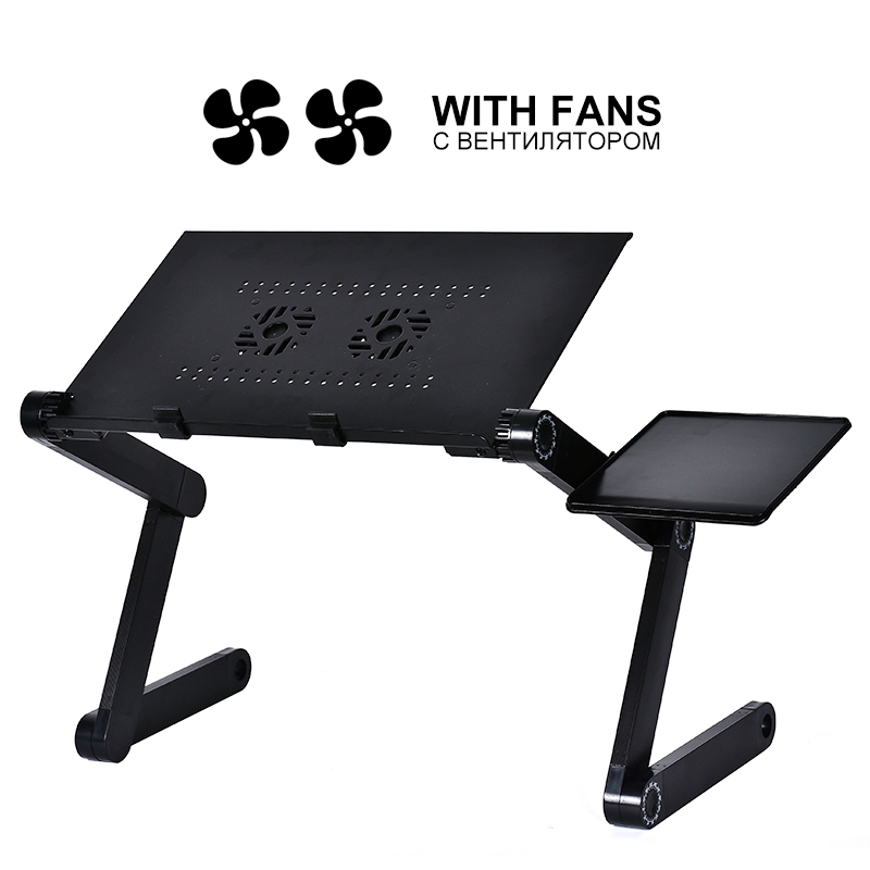 New Aluminum Alloy Adjustable Laptop Table Portable Folding Computer Desk Notebook Desktop Stand Computer Table For Sofa Bed(China)