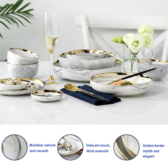 White Marble with Gold Edge Ceramic Plate and Bowl 6 styles 1pc
