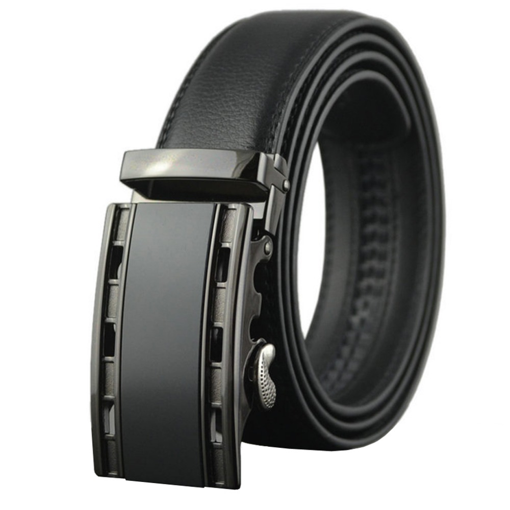 38-54 Black Brown Mens Real Leather Ratchet Belts with Automatic Buckle Big and Tall Cow Skin Belt For Jeans High Quality