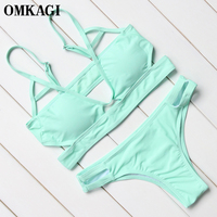 OMKAGI Brand Micro Sexy Bikinis Set Swimsuit Swimwear Women Solid Swim Suit Swim Wear Beachwear Bathing