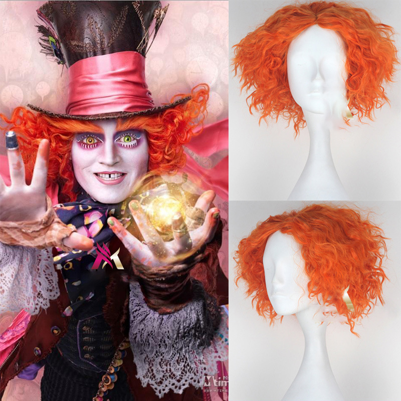 New Alice in Wonderland 2 Mad Hatter Tarrant Hightopp Orange Wig Short Curly Hair Role Play Halloween Costume Props Dropshipping