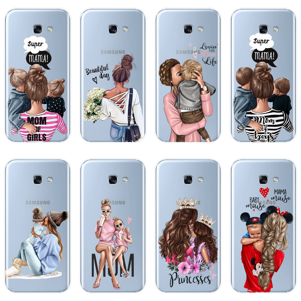 Girl Baby Women Mom Phone Case For Samsung A6 A8 Plus 2018 Soft Silicone Back Cover For Samsung Galaxy A3 A5 A7 2016 2017 2018