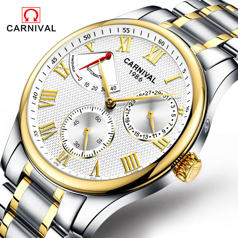 Carnival Watch Men energy display Automatic Mechanical Luminous Gold Stainless Steel Waterproof multifunction Watches цена и фото