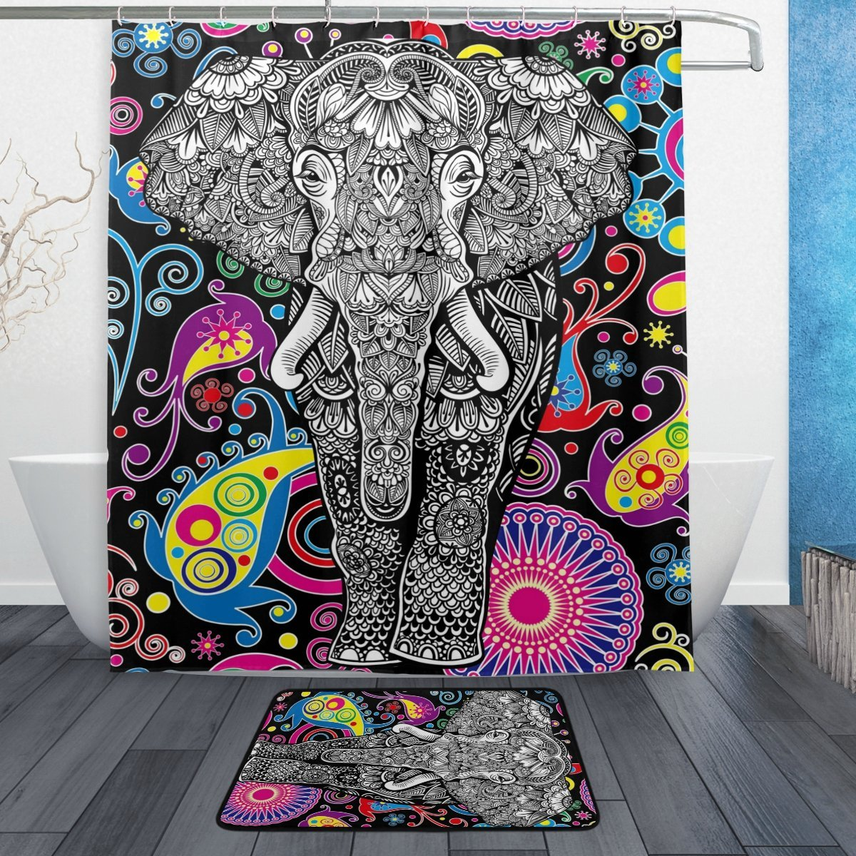 Exotic Ethnic Elephant Shower Curtain and Mat Set, Paisley Tribal Indian Waterproof Fabric Bathroom Curtain