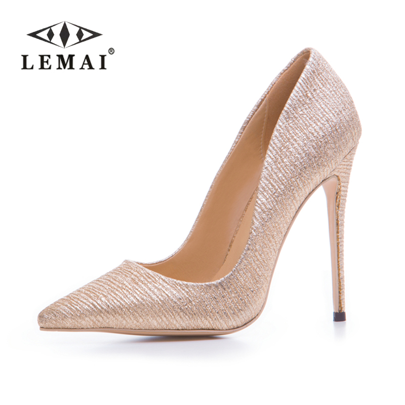 LEMAI Women High Heel Shoes Basic Model Party Pumps Lady Sexy Pointed Toe Thin Heel Wedding Shoes GOLD Pumps #34-43 doratasia denim eourpean style big size 33 43 pointed toe women shoes sexy thin high heel brand design lady pumps party wedding