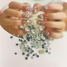 LEAMX Mix Sizes/BoxWhite/ AB Glass Rectangle Flatback Rhinestones Nails DIY Accessories Art Decorations Gems Decor L443