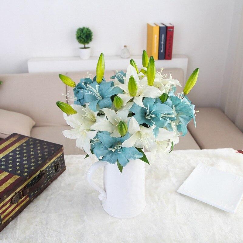 Acheter 10 pcs/lot pvc parfum de lys frais style bureau ornements fleurs artificielles décoration fleur salle De Mariage décoration de artificial flowers decoration fiable fournisseurs
