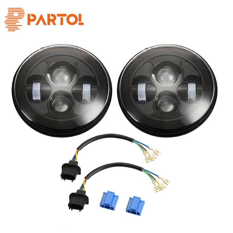 Partol Round 7 inch LED Headlight H4 H13 Headlamp 12V 24V 80W PAR56 For Jeep Wrangler Land Rover Angel Eye Hi-Lo Beam Halo Ring 7 round led headlight conversion kit with halo angel eye ring