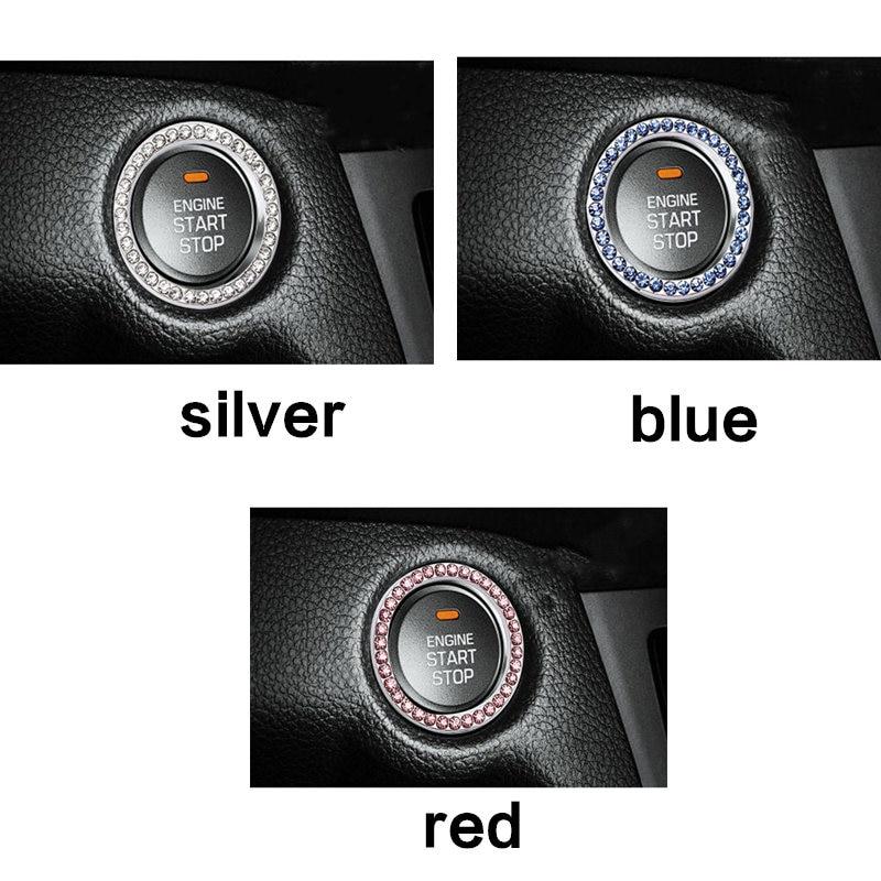 1 × Auto Car SUV Decorative Accessories Button Start Switch Diamond Ring Silver