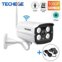 Techege HD 1080P Wireless SD Karte Slot Audio IP Kamera 2.0MP wifi Sicherheit Kamera Nachtsicht Metall Wasserdichte Outdoor kamera