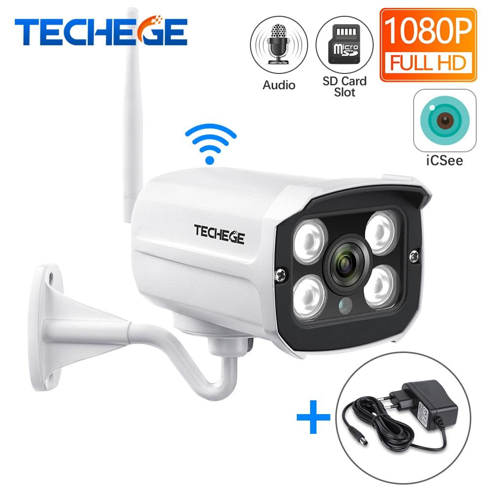 Techege HD 1080P ranura para tarjeta SD inalámbrica Audio IP Cámara 2.0MP wifi cámara de seguridad visión nocturna Metal impermeable Cámara al aire libre
