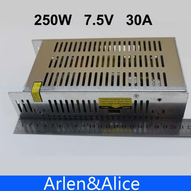 250W 7.5V 30A Single Output Switching power supply for LED Strip light AC to DC ac 85v 265v to 20 38v 600ma power supply driver adapter for led light lamp