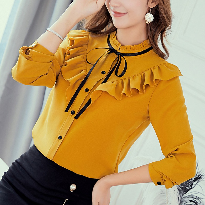 New Spring Autumn Tops Women Fashion Ladies Long Sleeve Shirts Casual Chiffon Blouse  Work Wear Office Lady Blusas Femininas