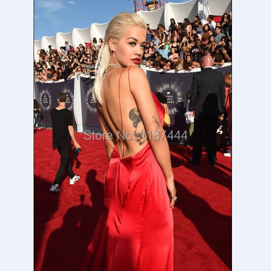 Rita Ora v neck sexy hot red prom dress on 2014 MTV Video Music Awards  Evening dresses Red Carpet celebrity gowns-in Celebrity-Inspired Dresses  from ... 8847b6691a89