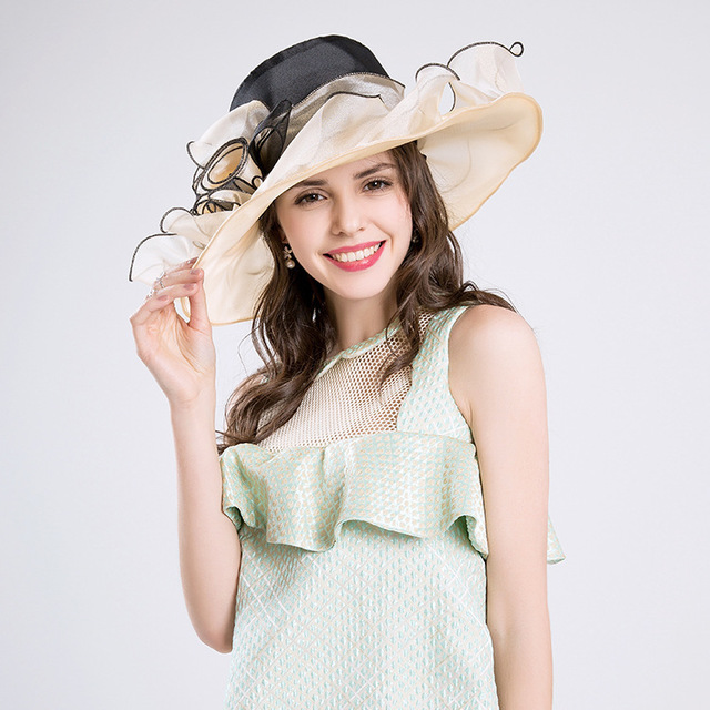 0092487f625 2018 Summer Hats Wide Large Brim Elegant Flower Lady Church Hats Fashion  Cloche Aristocratic Sombreros White Kentucky Derby Hats
