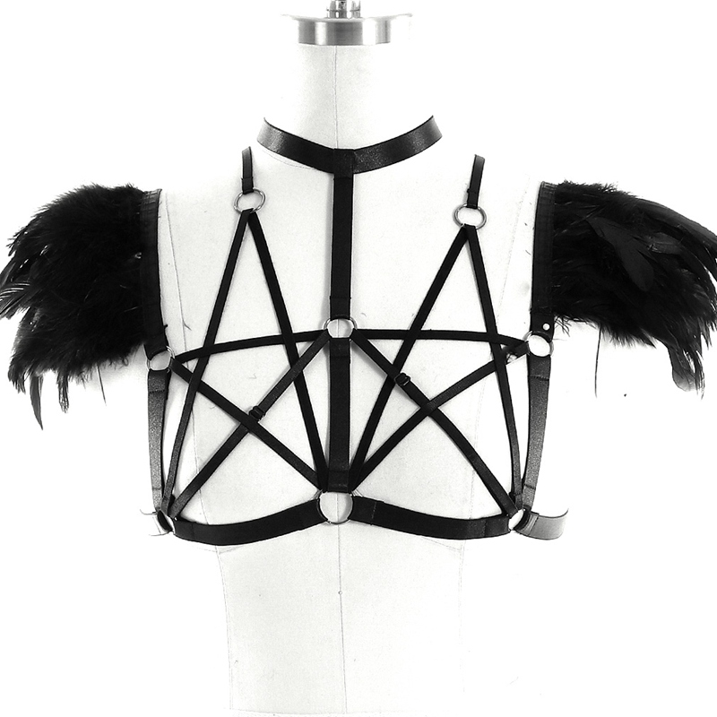 Body Cage Bra For Women Sexy Pentagram Harness Shoulder Feather Angel Wings Club Dance Festival Halloween Party Wear Burning Men Excellent Quality Garters