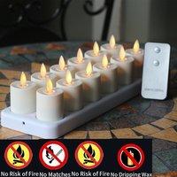12 unids Listo Remoto Recargable Sin Llama Tea Light LED Velas Votivas Luz 1.5x2.2 pulgadas Sin Perfume Para La Decoración Casera y el Partido