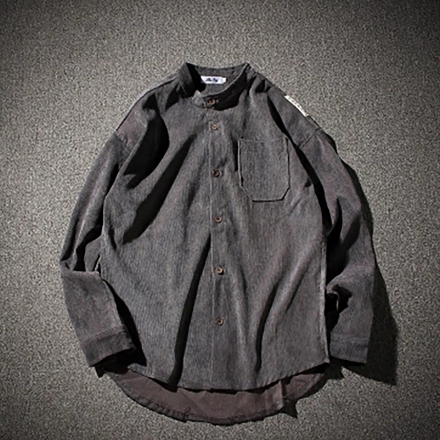 Long Sleeve Corduroy Shirt Men Spring Big Size Fashion Mens Casual Shirts Mandarin Collar Shirt Korean Vintage Men Dress 60C0005