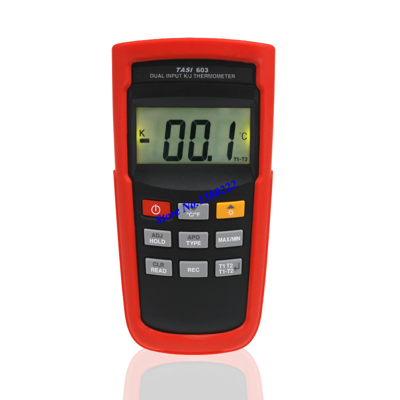 Highly accurate dual input thermometer TASI-603 K/J type thermocouple thermometer digital contact thermometer -100 to 1372 C