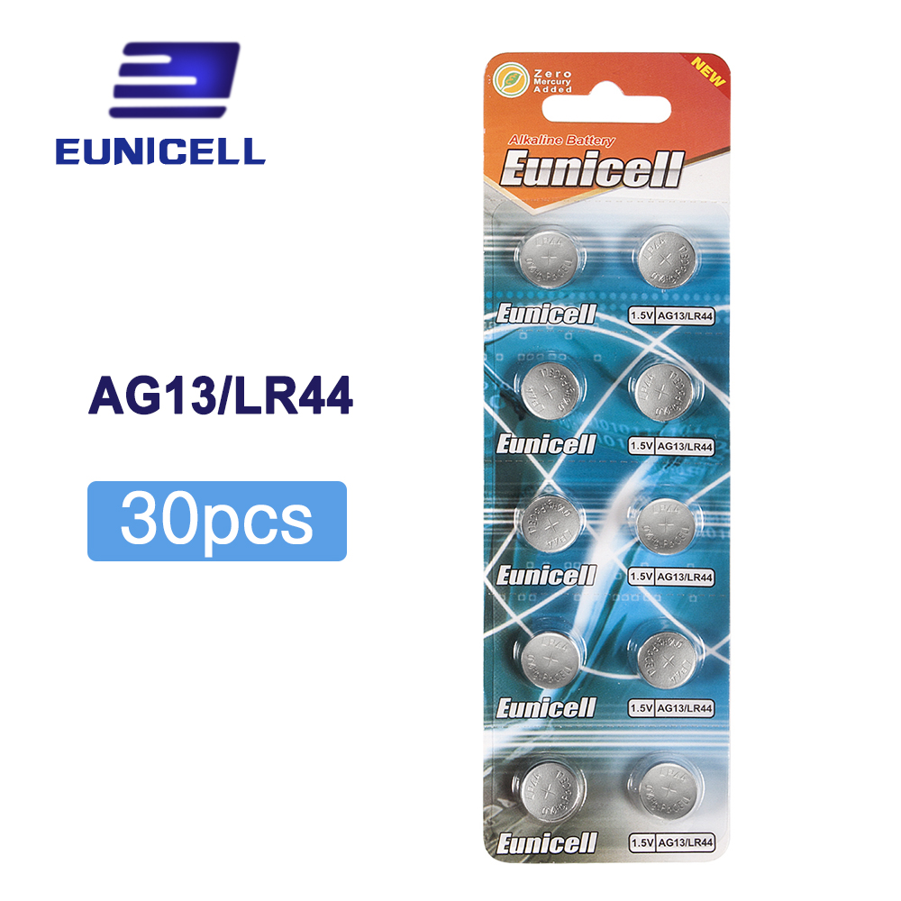 30pcs/lot 1.5V AG13 Battery LR44 L1154 RW82 RW42 SR1154 SP76 A76 357A <font><b>pila</b></font> lr44 SR44 <font><b>AG</b></font> <font><b>13</b></font> Lithium Button Cell Coin Battery image