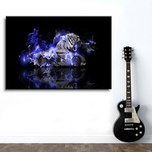Modern Home Wall Decor Framework Picture 1 Panel Abstract Artistic Sport Car And White Tiger Reflection Painting On Canvas Print