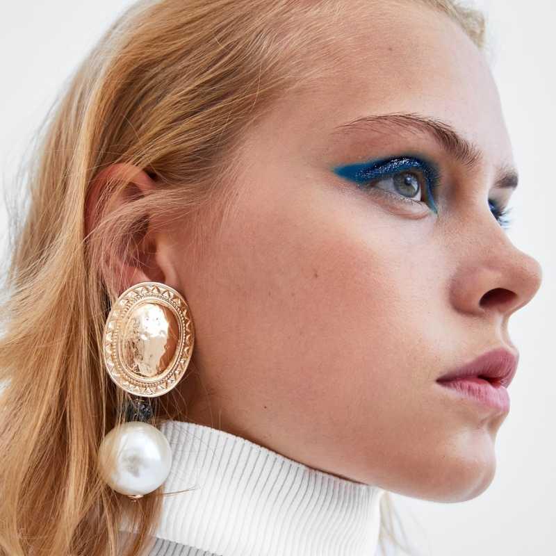 AOTEMAN vintage gold metal pearl earrings for women 2019 za jewelry hyperbole big statement earrings wedding accessories