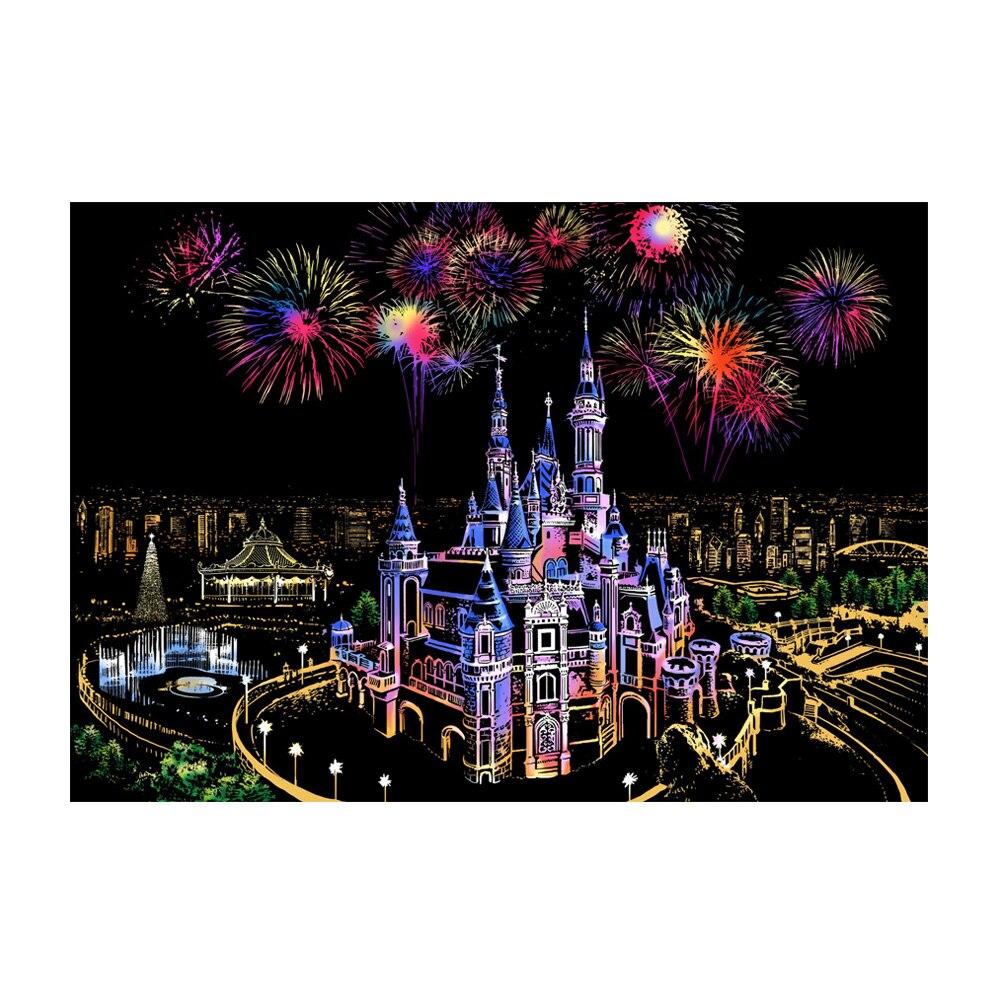 Интересный красочный ночной скретч картина Рисование бумага описать город ночная сцена подарок детям - Цвет: Dream Castle