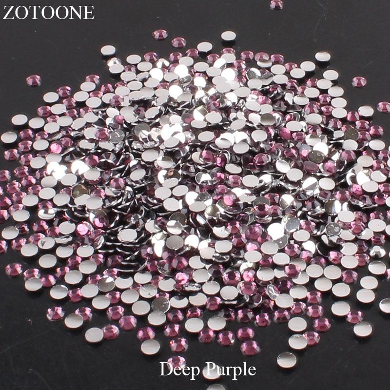 ZOTOONE 2-6 мм 1000 шт прозрачные Стразы AB без горячей фиксации плоские с оборота Стразы для ногтей для одежды ногти 3D дизайн ногтей украшения - Цвет: Deep purple