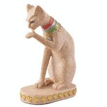 MRZOOT Sandstone Bastet Statue Egyptian Cat God Figurine Ancient Egypt Natural Craft Sculpture Home Desk Decor