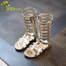 J Ghee 2017 Fashion Girls Shoes Summer Kids Sandals Children's PU Patent Leather Gladiator Design Rome Style Star Decoration