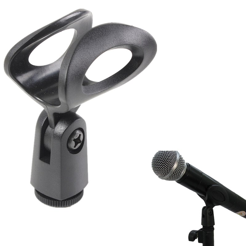 Universal Plastic Microphone Clips Holder Flexible Rubberized Stand Bracket For Wired/Wireless Microphone Black