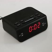 Современный Компактный Дизайн Цифровой Будильник Fm-радио с Двойной Зуммер Повтора Сна Красный СВЕТОДИОДНЫЙ Дисплей Времени Дома Стол часы
